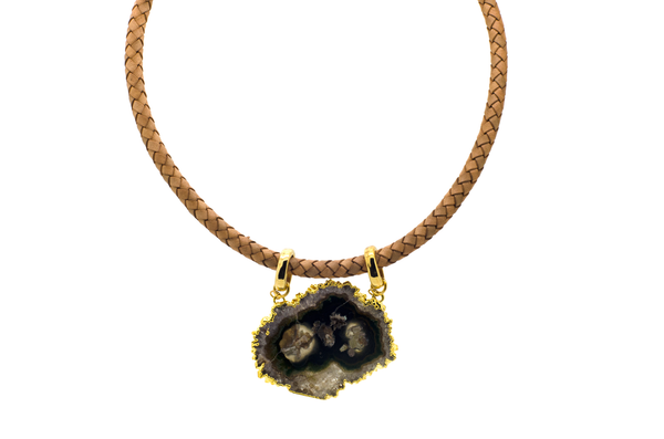 Amethyst Stalactite Leather Necklace