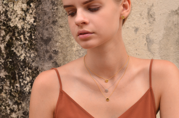 Dainty round textured disc ruby necklace lookbook