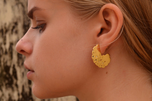 Round disc textured gemstone earrings lookbook side view