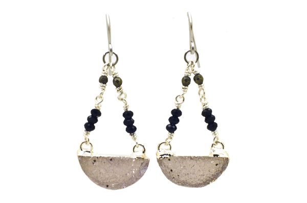 Half Moon Druzy Earrings