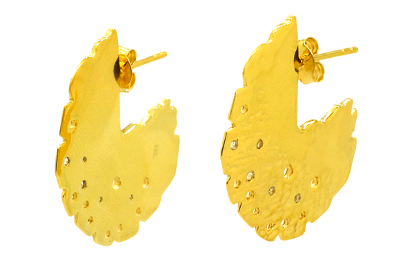 Gold topaz round textured disc earrings