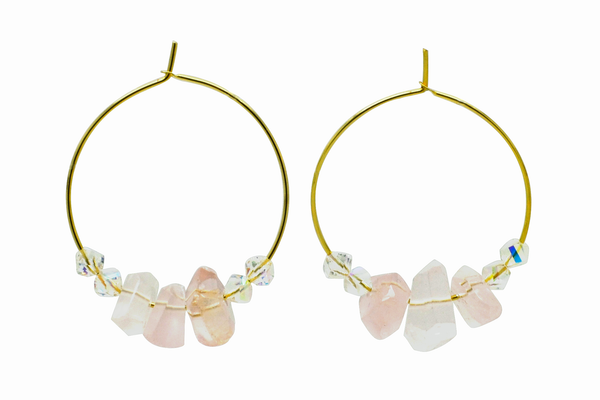 Rose Quartz Hoop Earrings
