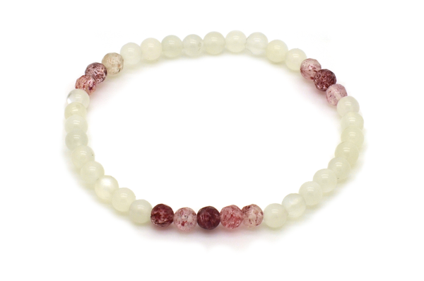 Strawberry Quartz & White Moonstone Bracelet