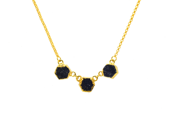 Quinn Black Druzy Necklace
