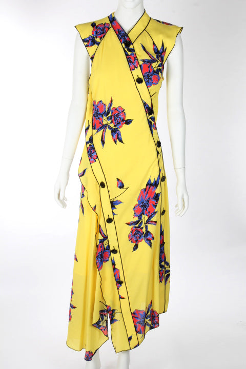 PROENZA SCHOULER YELLOW FLORAL PRINT MAXI DRESS SZ US 4