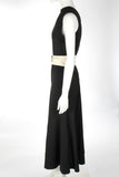 BASSIKE BLACK STRETCH CREPE BELTED DRESS SZ 1