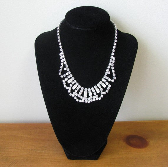 1940s Rhinestone Swag Necklace