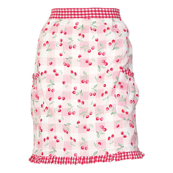 Half Apron Cherry pale pink w/frill