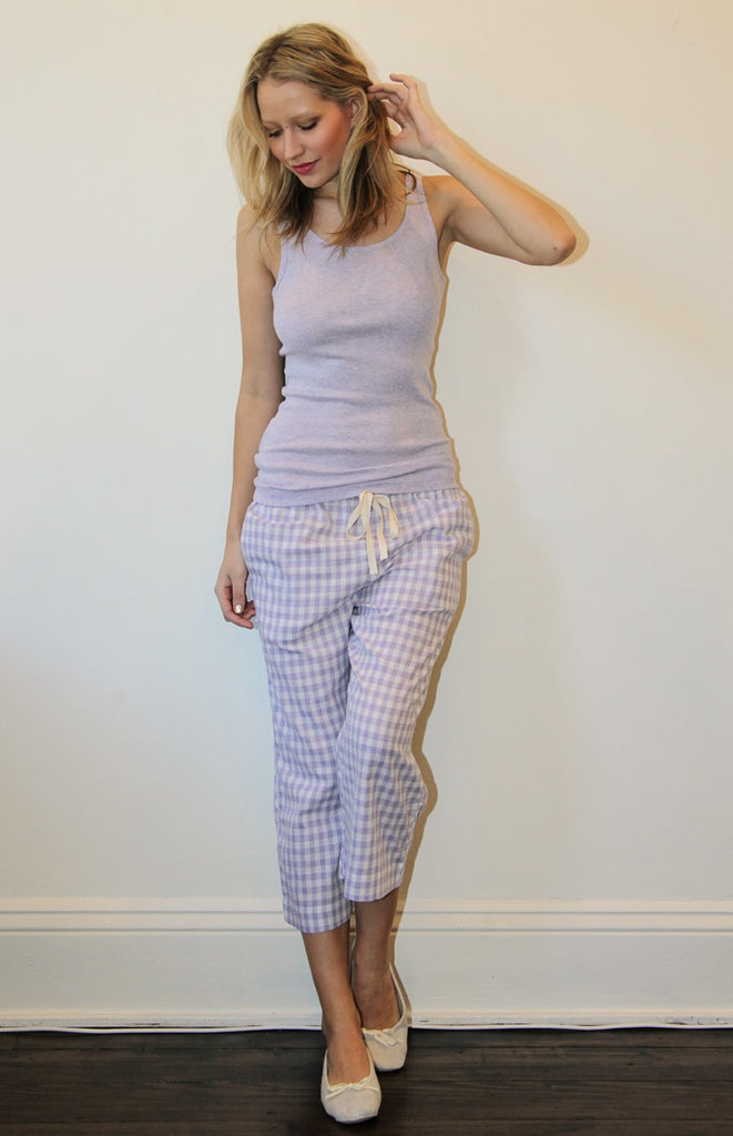 Yarn Dyed Lavender PJ Pants & Modal Vest - Set