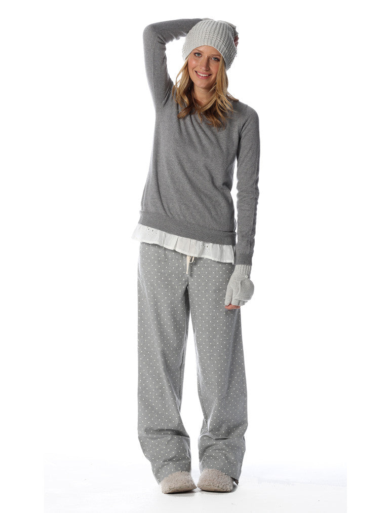 Grey Spot Flannel Pants & Grey Lomg Sleeve Top Set