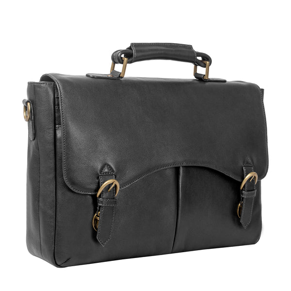 "Hawkins Leather 15"" Laptop Compatible Briefcase Work Bag"