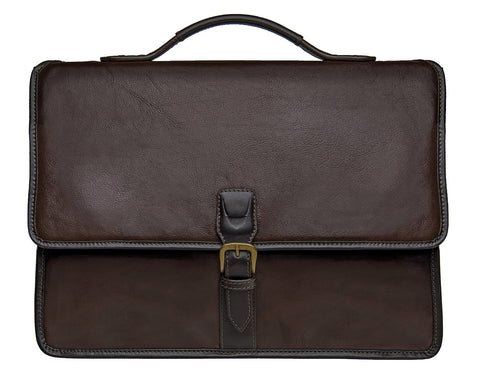 Harrison Buffalo Leather Laptop Briefcase