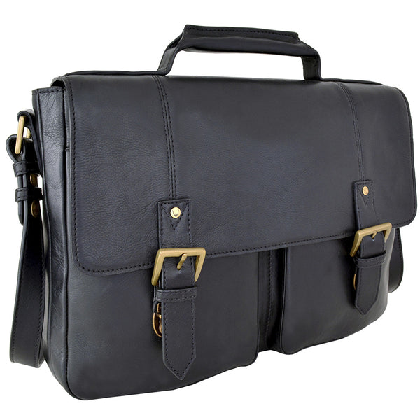 "Charles 15"" Laptop Compatible Leather Briefcase with Front Pockets"
