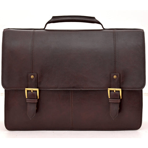 "Charles Double Gusset 17"" Leather Laptop Briefcase"
