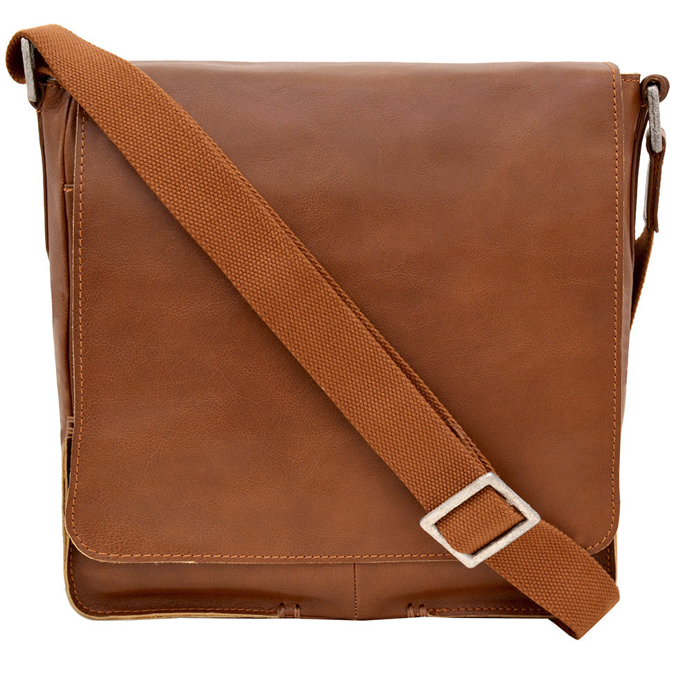 Fred Vertical Leather Messenger Bag