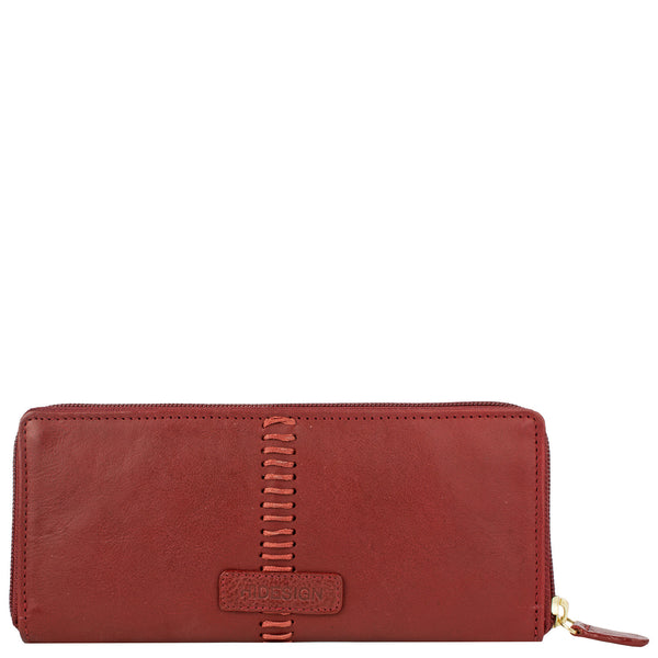 Stitch Zip Around Leather Wallet