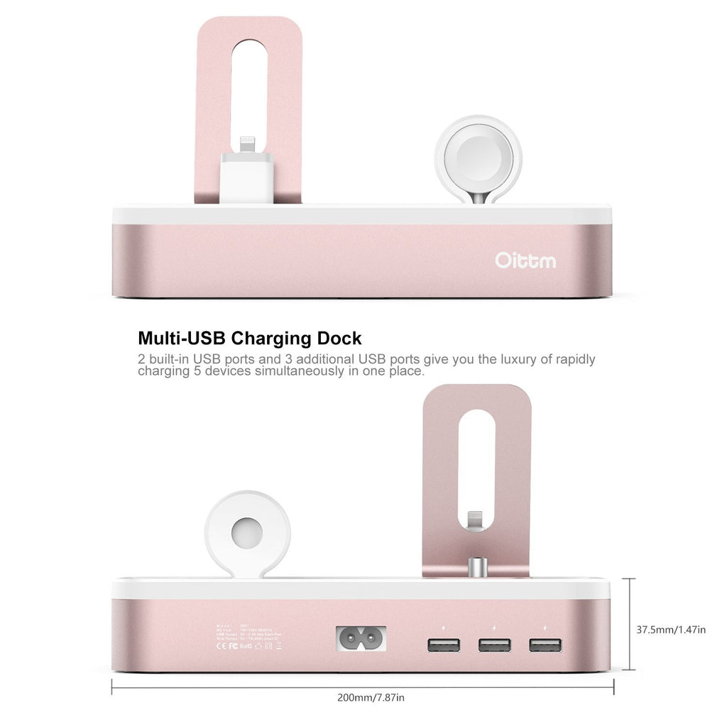 Rose Gold Aluminium Charging Dock Station, 5-Port