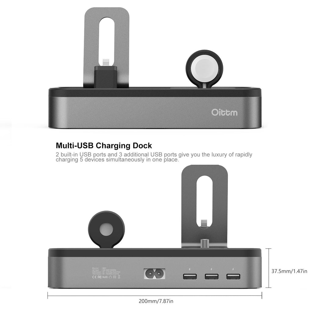 Grey Aluminium Charging Dock Station, 5-Port