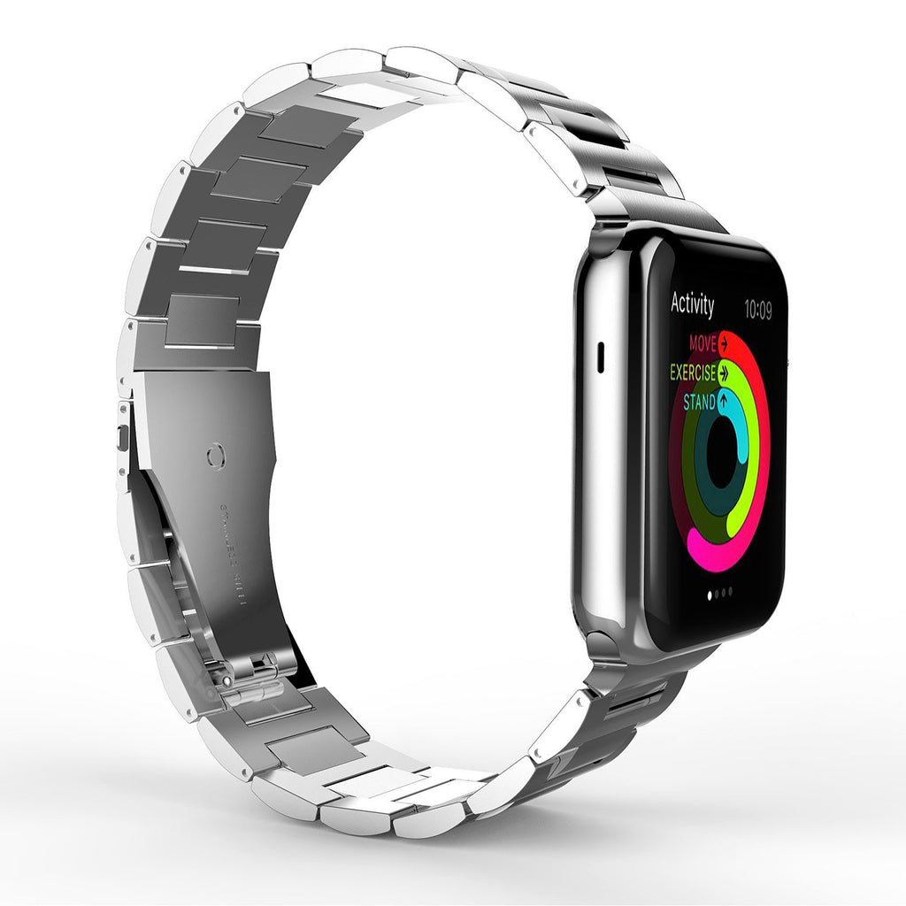 Oyster Bracelet Double Button Folding Clasp Apple Watch 42mm - Silver