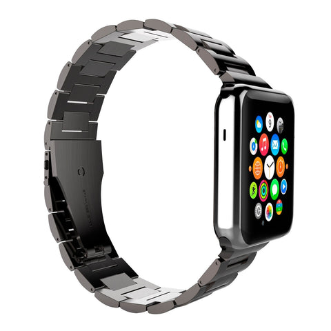 Oyster Bracelet Double Button Folding Clasp Apple Watch 42mm - Grey