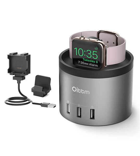 Grey Aluminium Charging Dock, 4-Port