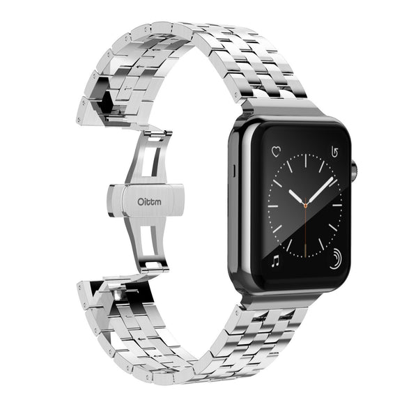 Engineer Bracelet Double Button Folding Clasp Apple Watch 42mm - Silver