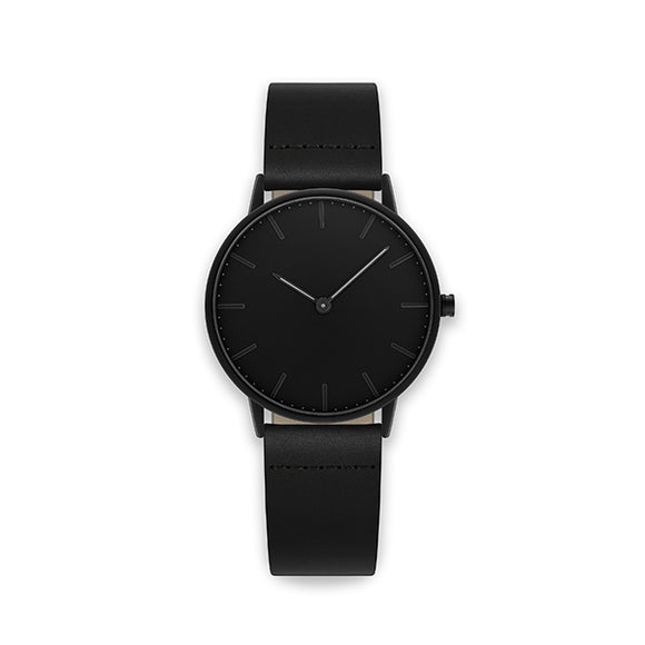 Blackout 36-Black Leather Watch