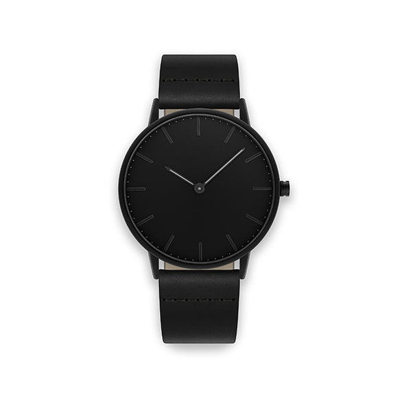 Blackout 40-Black Leather Watch