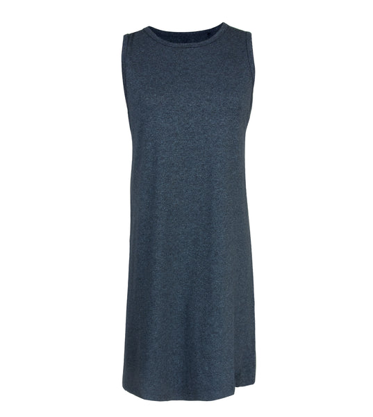 Melange Navy Premium Cotton Step Tank Dress