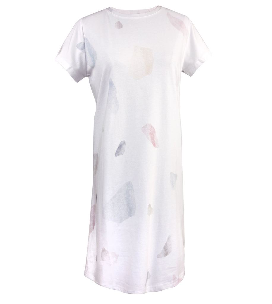 White Print Premium Cotton Tee Dress