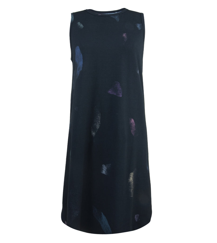 Navy Print Premium Cotton Tank Dress