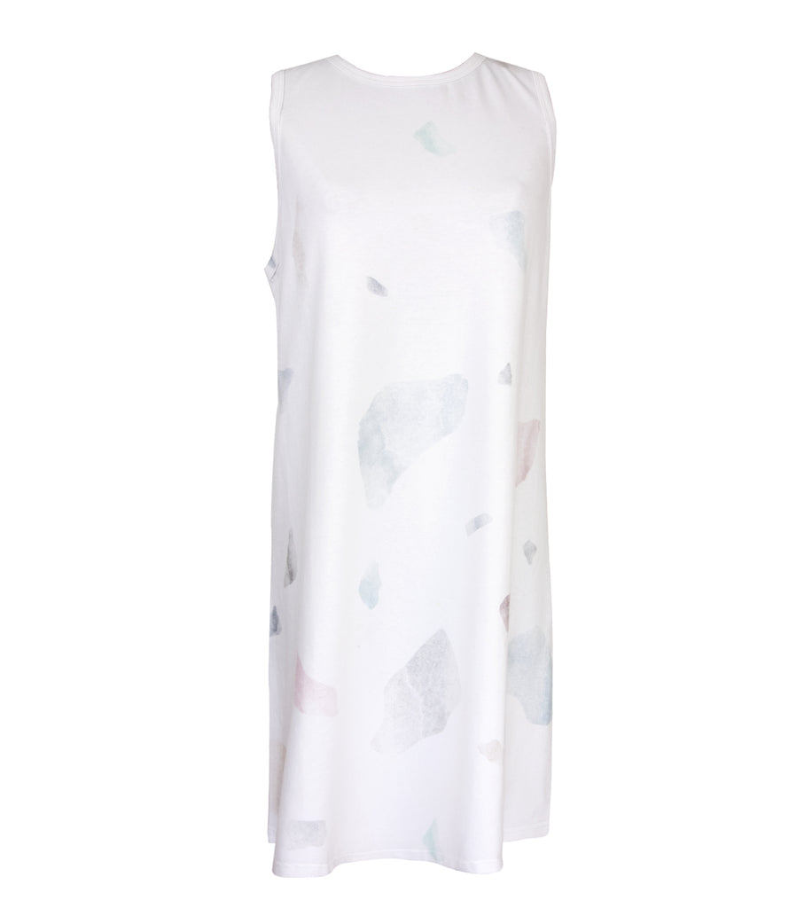 White Print Premium Cotton Tank Dress