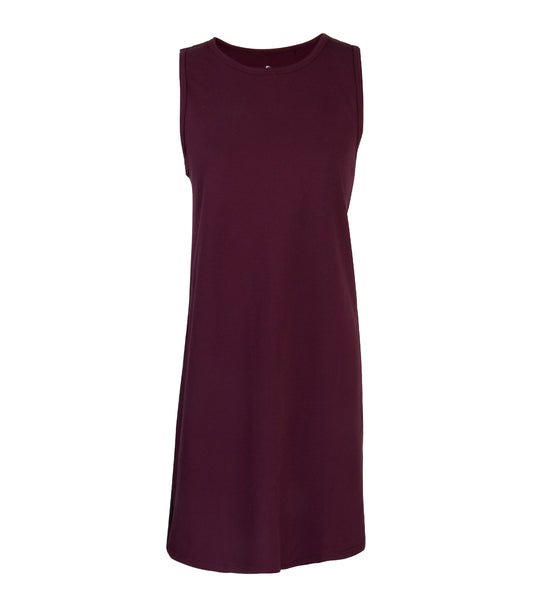 Maroon Premium Pique Step Tank Dress