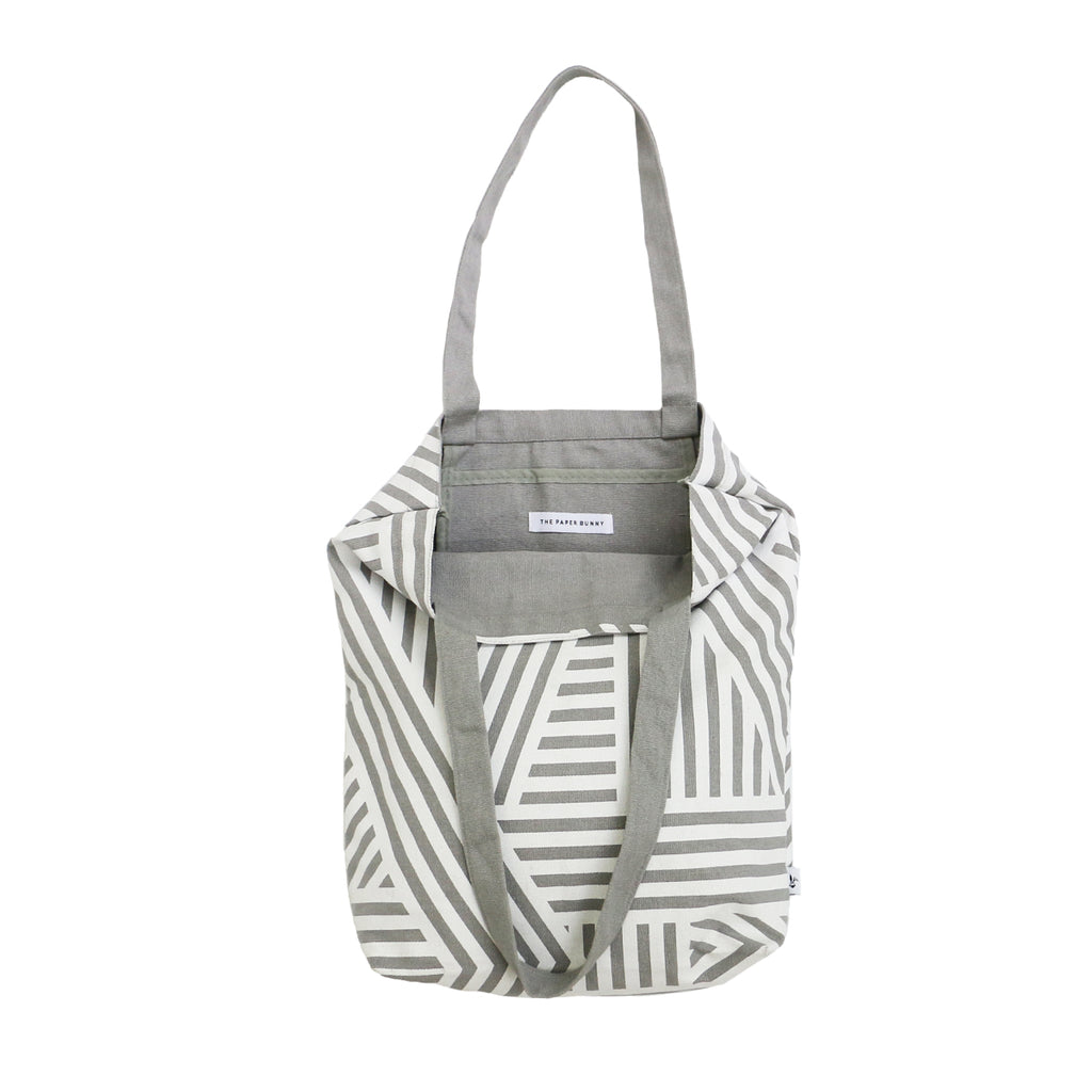 Grey Striped Tote