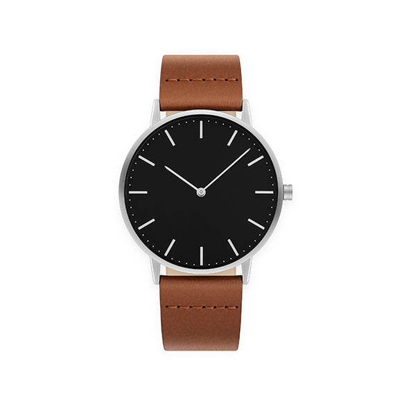 Minimaal 40 Silver-Brown Leather Watch