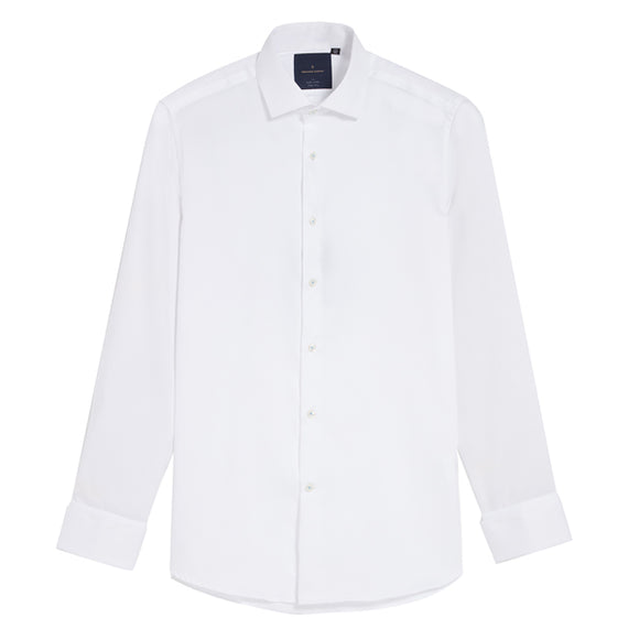 Fumiya Easy Iron Textured White Shirt