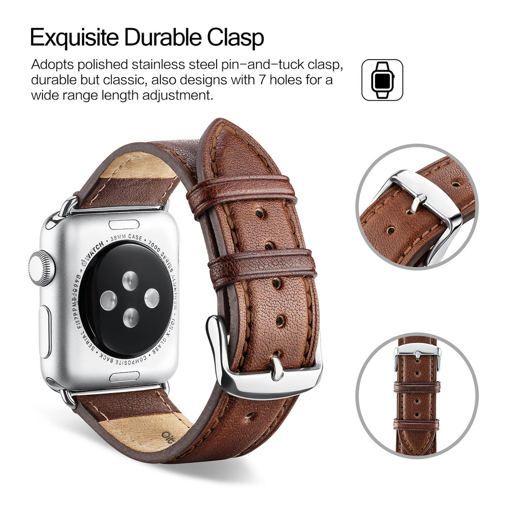 Dark Brown Leather Apple Watch Strap
