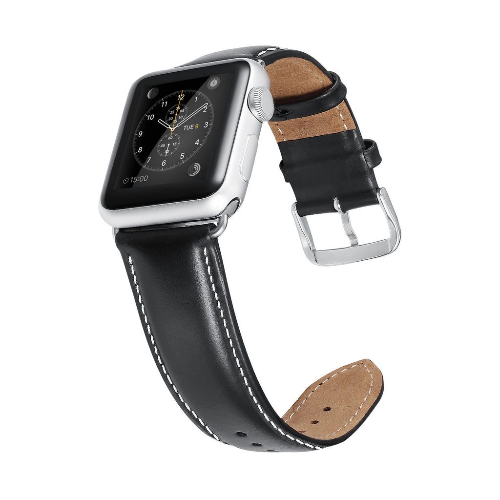 Black White Leather Apple Watch Strap
