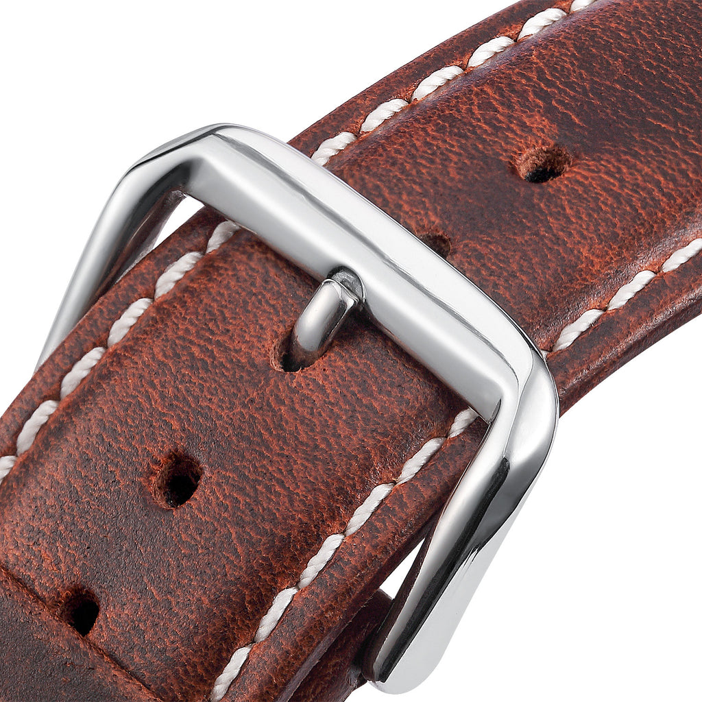 Brown White Leather Apple Watch Strap