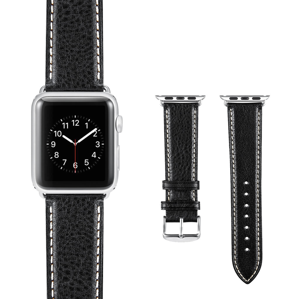 Black White Vintage Leather Apple Watch Strap