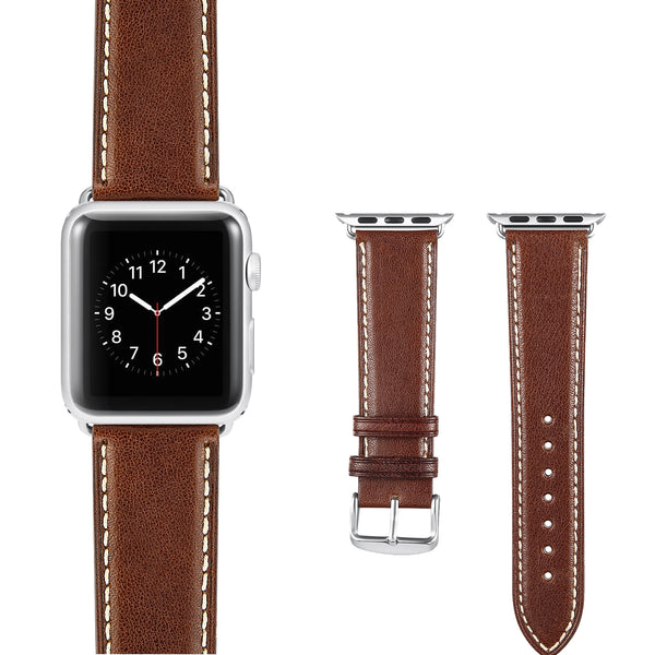 Dark Brown White Leather Apple Watch Strap
