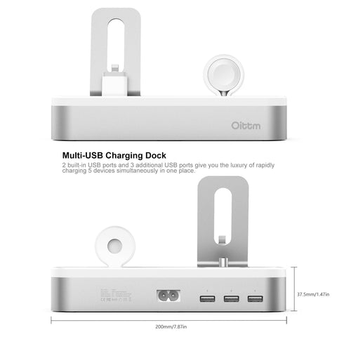 Silver Aluminium Charging Dock Station, 5-Port