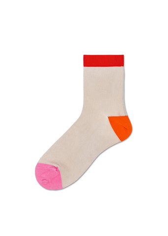 Grace Ankle Sock - Red Orange Pink