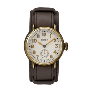 Welton 38mm Leather Strap Watch