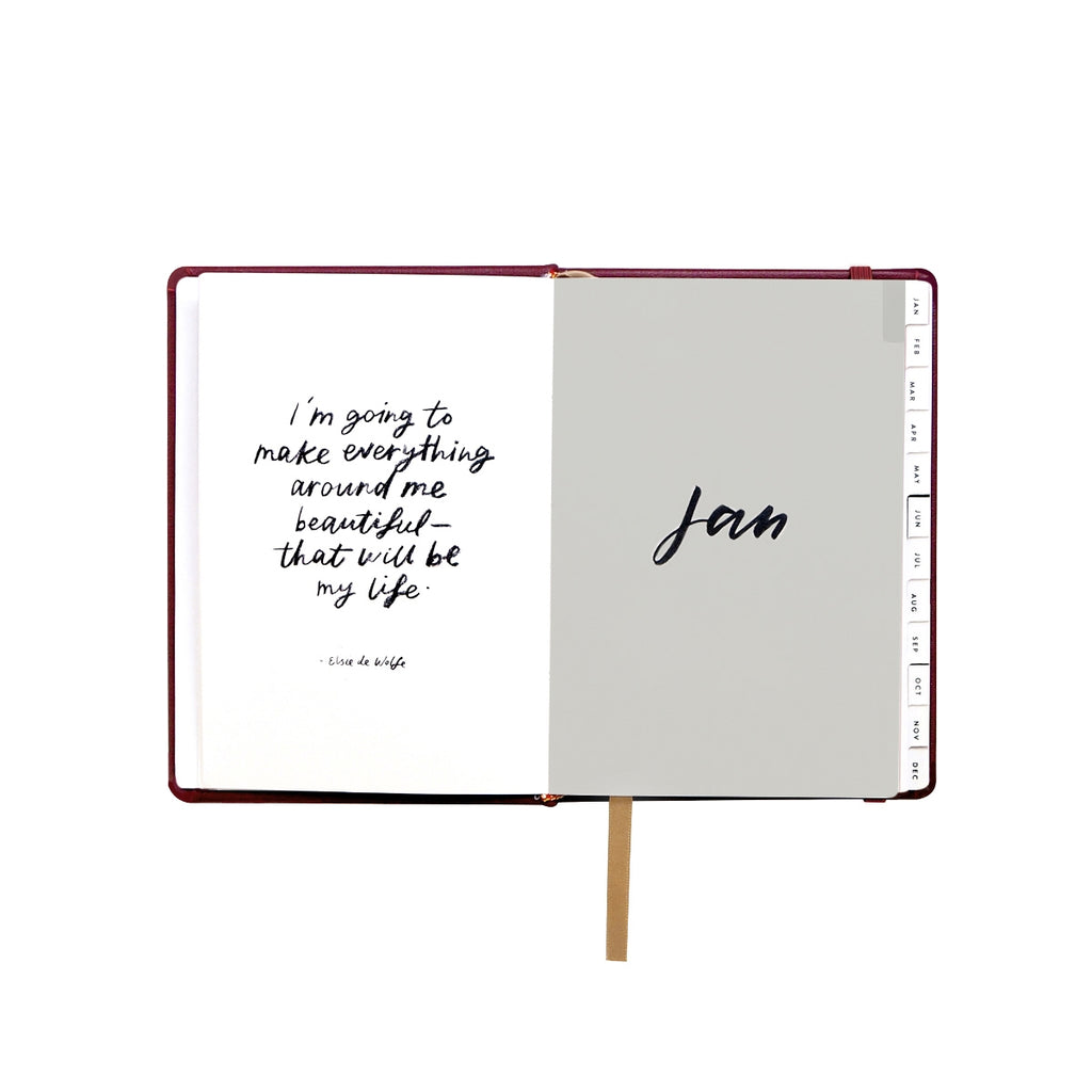 Compact Burgundy Leather 2018 Planner