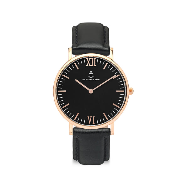 Campina Black Leather Watch