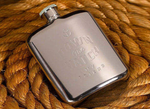 Silver Hip Flask 6oz - 'Down the Hatch'