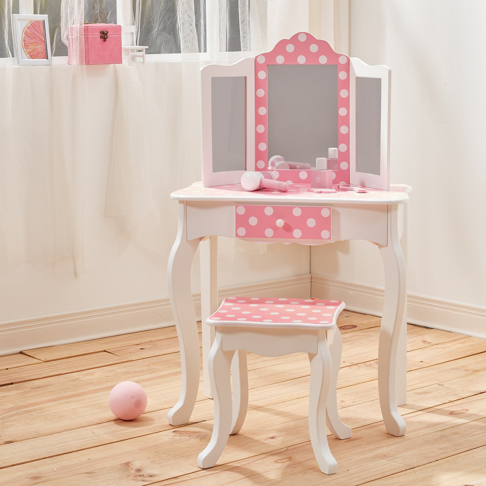 Childrens wooden vanity table image collections coffee table childrens pink polka dot wooden kid vanity dressing up table childrens polka dot wooden vanity dressing geotapseo Choice Image