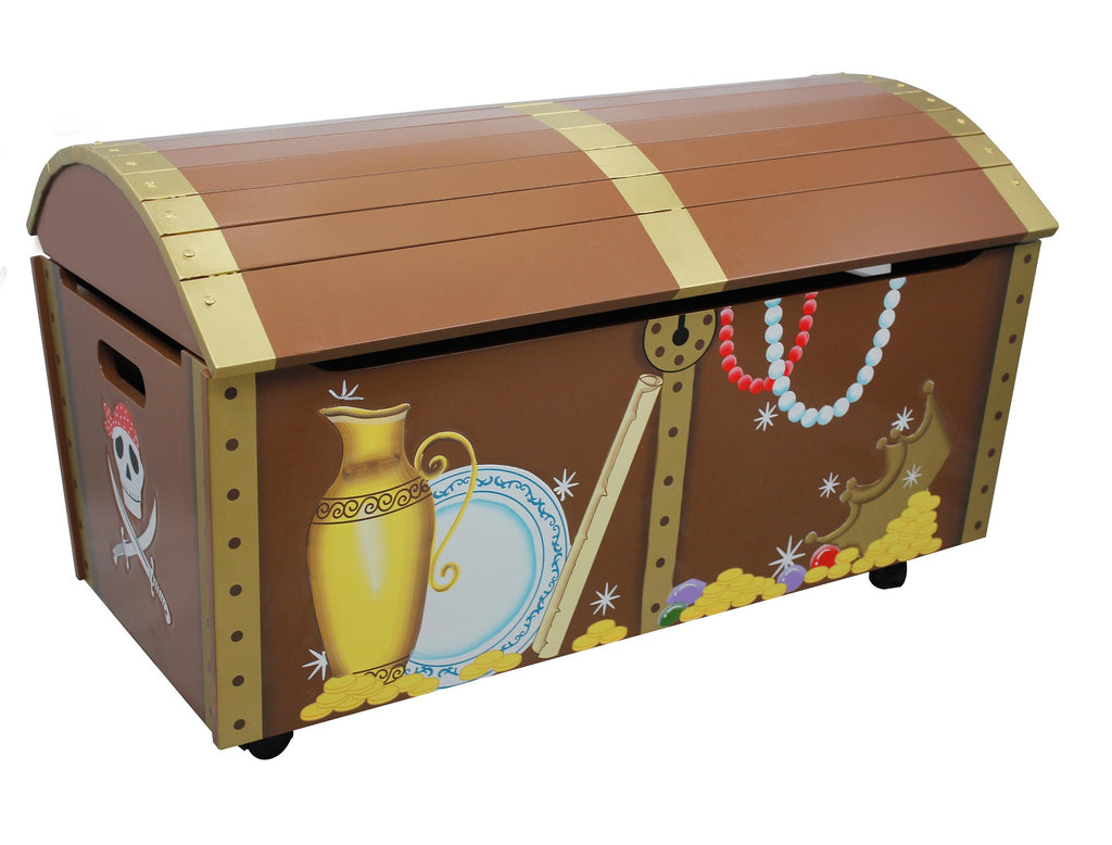 Toy Treasure Chest Beach : Childrens pirate island themed kids wooden toy chest