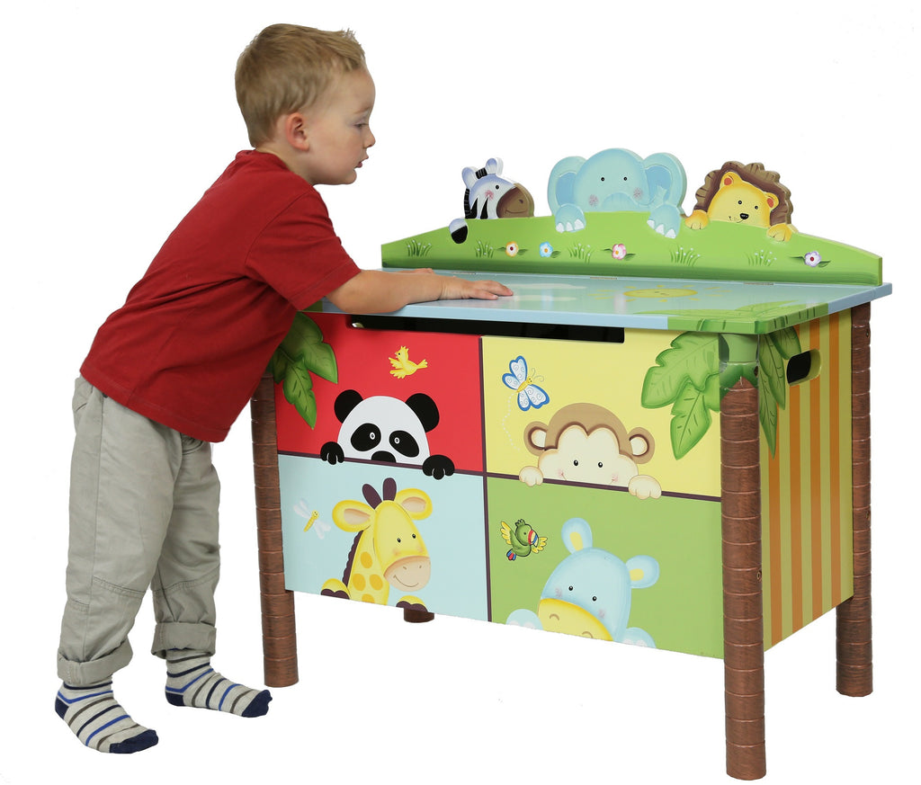 Kids wooden toy chest sunny safari - View
